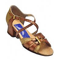Танцевальные туфли для девочек, кожаные (бронзовые, золотистые)