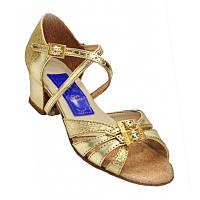Танцевальные туфли для девочек, кожаные (золотистые)