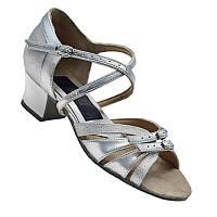 Танцевальные туфли для девочек, кожаные (серебристые)
