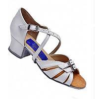 Танцевальные туфли для девочек, кожаные (белые, лаковые)