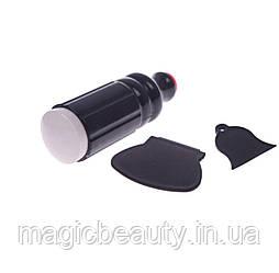 Двусторонний силиконовый штамп и скрапер для стемпинга, цвет черный.