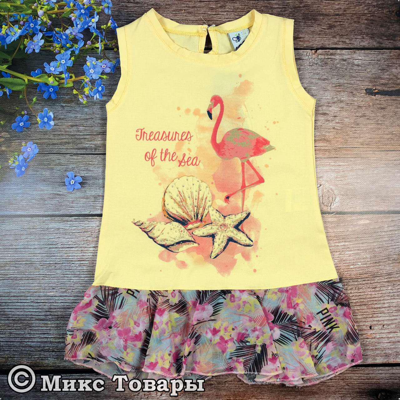 Летнее платье сарафан с шифоном для девочки Размеры: 3,4,5 лет (6125)