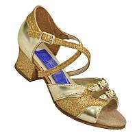 Танцевальные туфли для девочек, кожаные золотистые с блестками