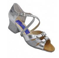 Танцевальные туфли для девочек, серебристые с блестками