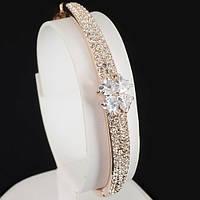 """Поразительный браслет с кристаллами Swarovski, покрытый слоями золота """"Сердце"""" 0525, фото 1"""