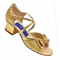Танцевальные туфли для девочек, кожаные (золотистые с бантиком)