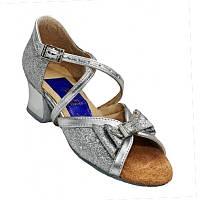 Танцевальные туфли для девочек, кожаные (серебристые с блестками) и бантиком