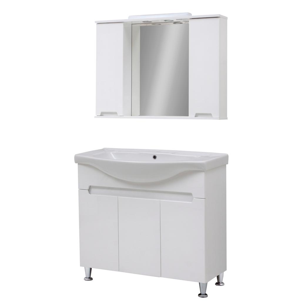 Мини-комплект мебели для ванной комнаты Марко 85-Т-11 с зеркальным шкафом Z-11-85 Юввис