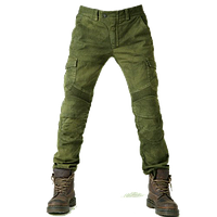 Мото джинсы с защитными вставками Komine оливковые