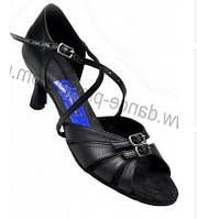 Танцевальные туфли женские, латина, черные кожаные
