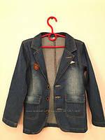 Джинсовый двубортный пиджак на мальчика. Размеры 110-140.