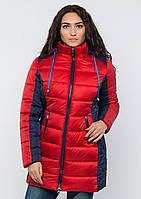 Куртка женская №15 длинная (красный/синий)
