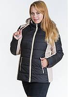 Куртка женская №15 (чёрный/бежевый)