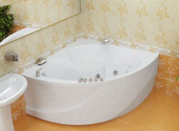 Гидромассажная ванна с врезным смесителем Triton Эрика, 1400х1400х640 мм