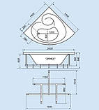 Гидромассажная ванна с врезным смесителем Triton Эрика, 1400х1400х640 мм, фото 2