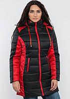 Куртка женская №15 длинная (красный/чёрный)