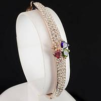"""Эффектный браслет с кристаллами Swarovski, покрытый слоями золота """"Сердце"""" 0530"""