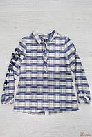 Блуза синяя в квадратики для девочки (128 см)  Bulicca 2125000512914