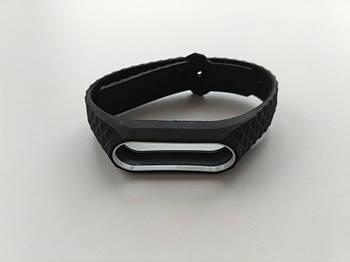 Ремешок рифленый Mijobs для Xiaomi Mi Band 2 черный с белой рамкой