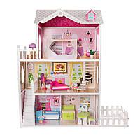 Игровой кукольный домик для барби EcoToys California 4107fm + тераса, 124см