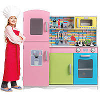Деревянная кухня для детей EcoToys TK038 + набор посуды