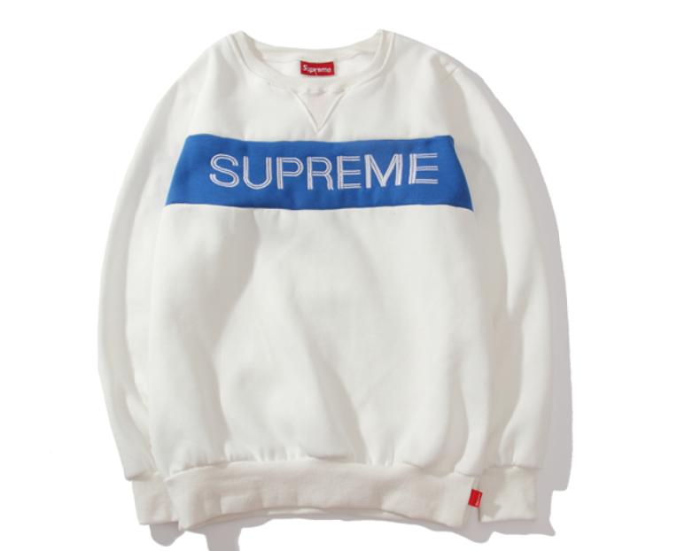 Свитшот Supreme белый с горизонтальным логотипом (толстовка суприм мужская женская)