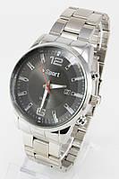 Наручные мужские часы (черный циферблат, серебристый ремешок), фото 1