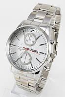 Наручные мужские часы (белый циферблат, серебристый ремешок)