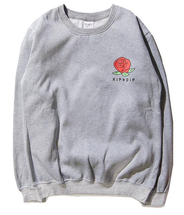 Світшот Rip n dip сірий з принтом троянди (толстовка ріп н діп чоловіча жіноча)