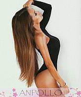 Женский стильный черный боди на одно плечо