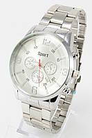 Наручные мужские часы (серебристый циферблат, серебристый ремешок)