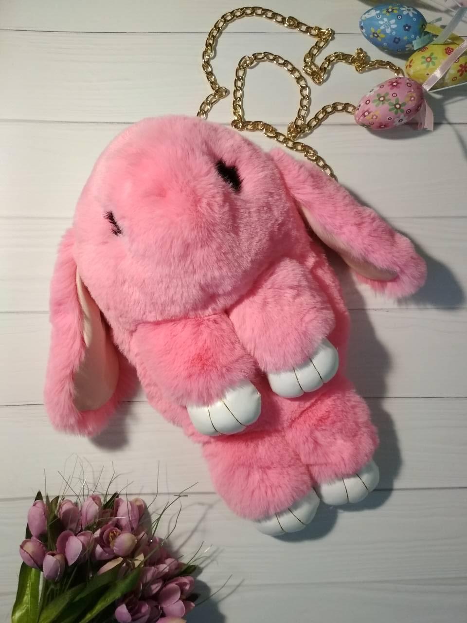 Сумка-кролик из натурального меха розовая