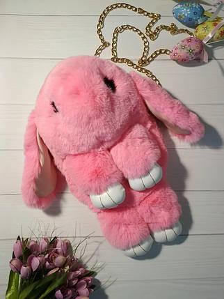 Сумка-кролик из натурального меха розовая, фото 2