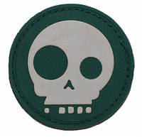 Патч ПХВ на липучке Geek skull зеленый