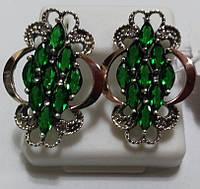 Серьги из серебра и золота Зеленая гроздь