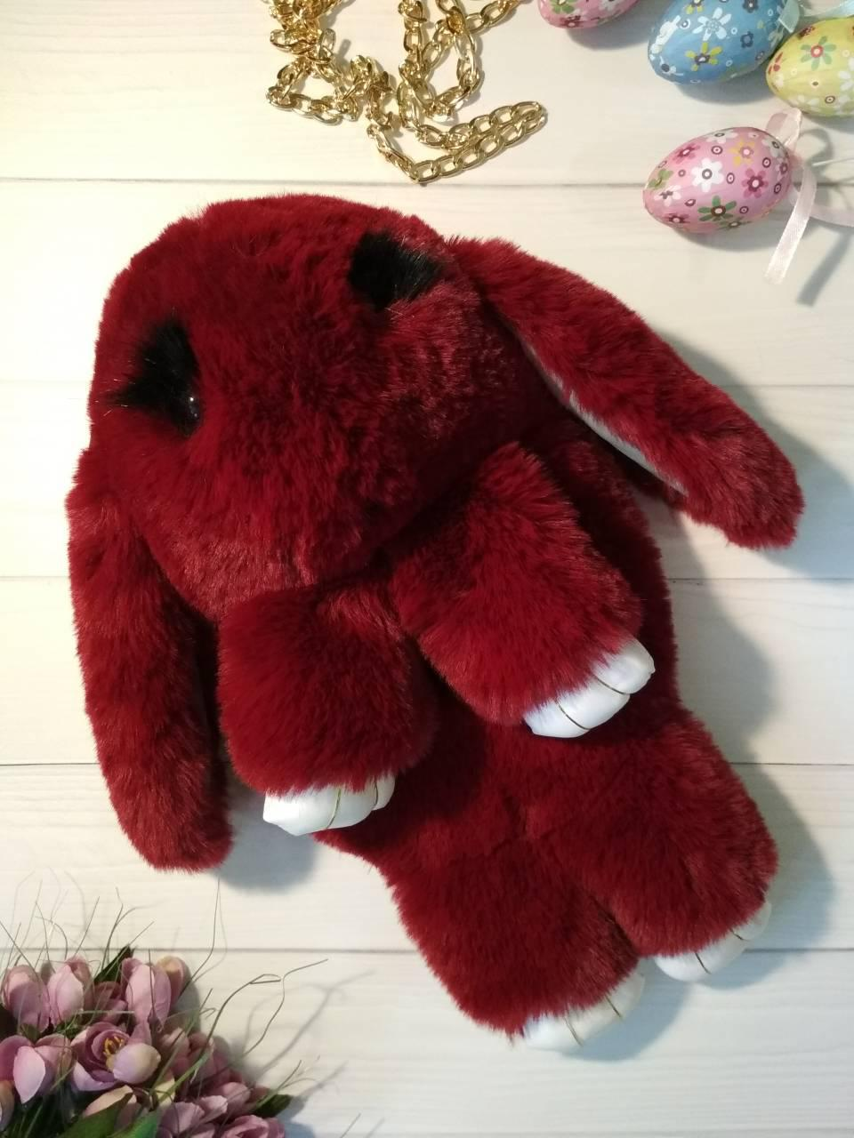 Меховой рюкзак кролик бордового цвета