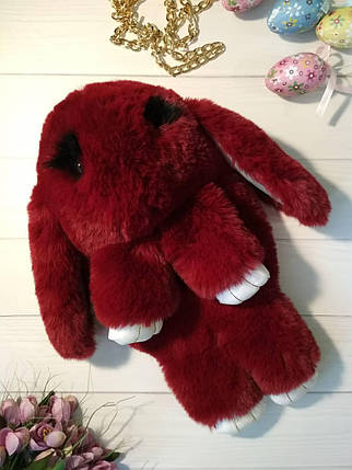 Меховой рюкзак кролик бордового цвета, фото 2