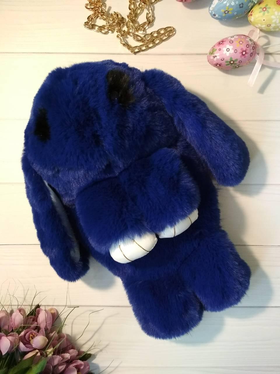 Сумочка-рюкзак на цепочке в виде зайчика из натурального меха