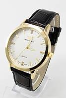 Наручные мужские часы (белый циферблат, черный ремешок), фото 1