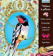 Художественный комплект рисование блестками Птицы с блестками Djeco (DJ09501)