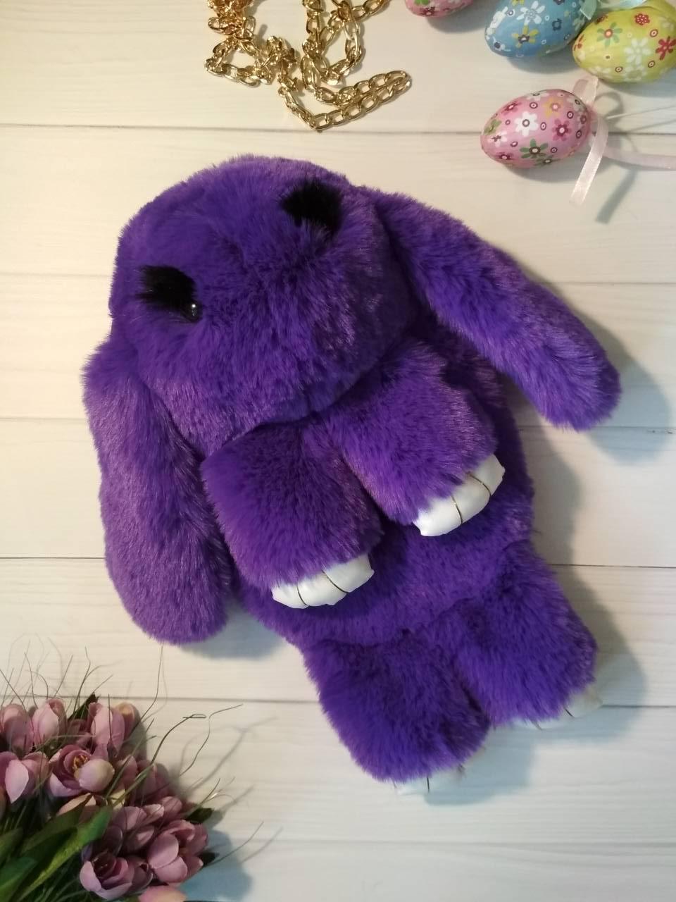 Фиолетовая сумочка-кролик на цепочке из натурального меха