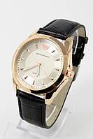 Наручные мужские часы (золотой корпус, черный ремешок), фото 1