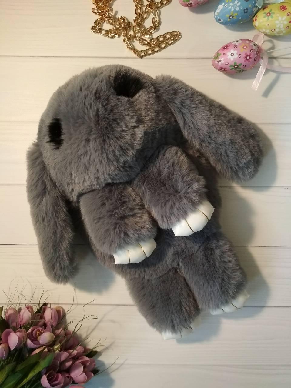 Сумка-рюкзак на цепочке меховой кролик
