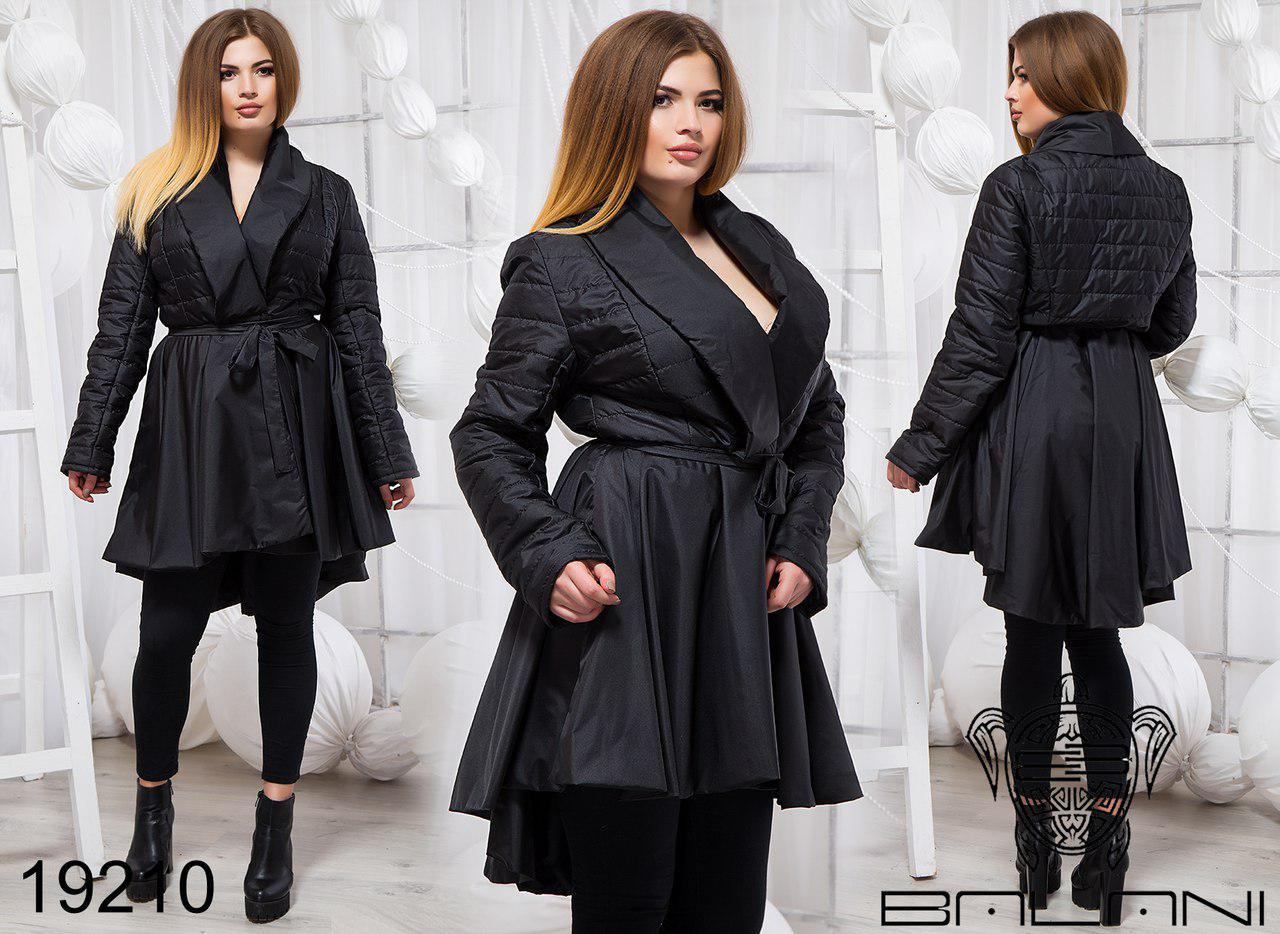 Оригинальная демисезонная стильная куртка-плащ на поясе Новинка ТМ Balani (р.48-54)