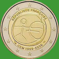 Франция 2 евро 2009 г. 10 лет экономическому и валютному союзу. UNC