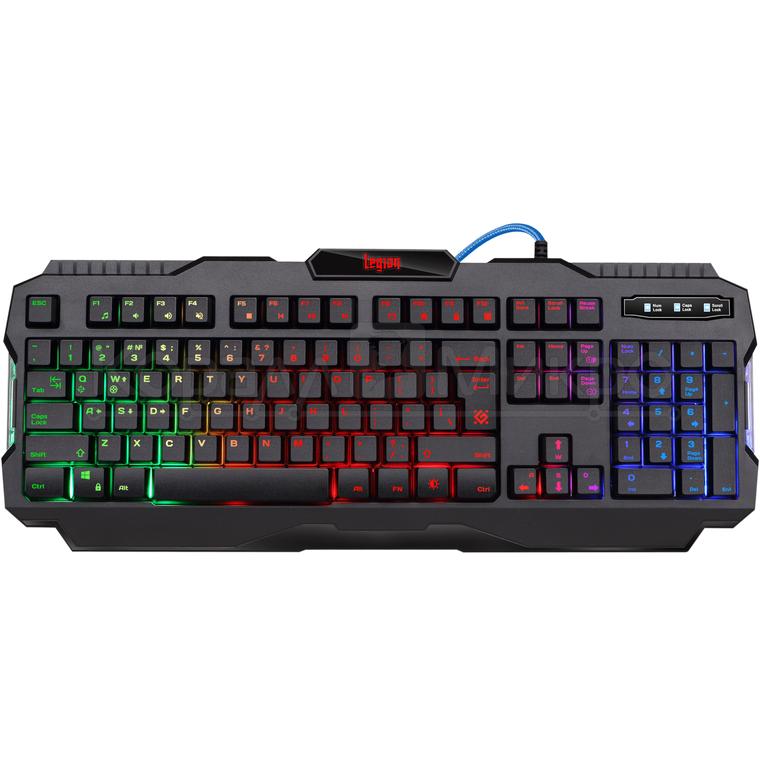 Клавиатура Defender Legion GK-010DL игровая, мульмедиа, влагойстойчивая, подсветка, USB, чёрный