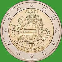 Эстония 2 евро 2012 г. 10 лет наличному обращению евро . UNC.
