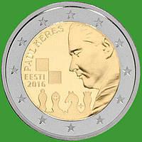 Естонія 2 євро 2016 р. 100 років з дня народження Пауля Кереса . UNC.