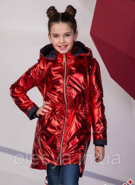 Модная куртка парка металлик на девочку подростка Размеры 134- 158 ТОП продаж!