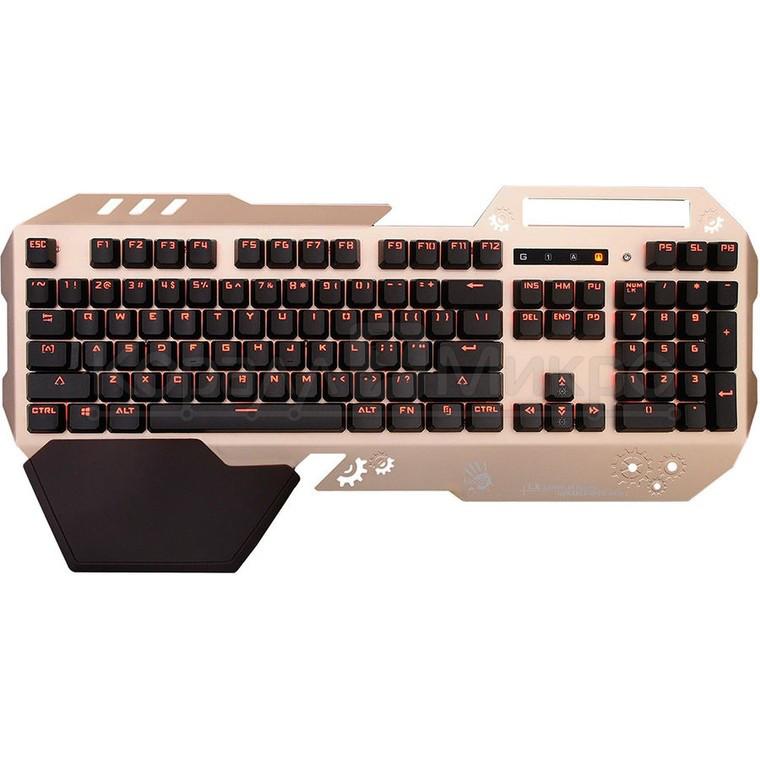 Клавиатура A4 Bloody B860 игровая, мультимедиа, подсветка, USB, золотисто-чёрный